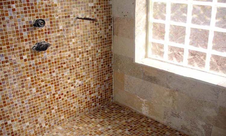 Tile Shower with Glass Brick Window Custom Design Bathroom Renovation Glass Tile Specialist
